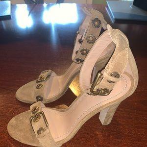 Elizabeth Suede Block Heel Sandals (SIZE 7.5)